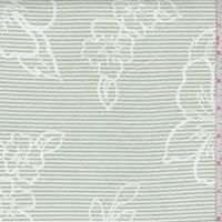 White/Pale Green Stripe Floral Seersucker