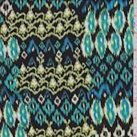 *5 1/8 YD PC--Black/Aqua Southwest Ikat Rayon Challis
