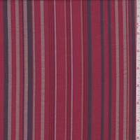 *1 YD PC--Ruby/Charcoal/Taupe Stripe Cotton
