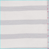 *1 1/8 YD PC--Ivory/Silver Stripe Jersey Knit