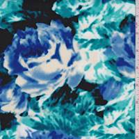 *1 YD PC--Royal/Teal Floral Scuba Knit