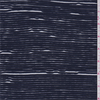 *1 1/8 YD PC--Dark Blue/White Ribbon Jersey Knit