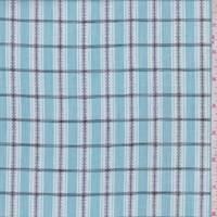 Powder Blue/White Embroidered Check Cotton