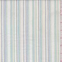 White/Aqua/Green Embroidered Stripe Cotton