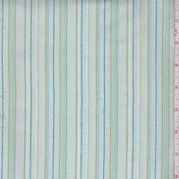 Spa Blue/Teal/Green Embroidered Stripe Cotton