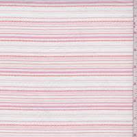 White/Pink/Orange Embroidered Stripe Cotton