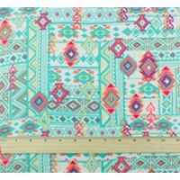 *2 5/8 YD PC--Teal/Multi Tribal Print Georgette