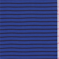 *3 1/8 YD PC--Sapphire/Black Stripe Thermal Knit