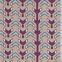 *2 1/4 YD PC--Beige Multi Arrow Print Lyocell Jersey Knit
