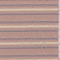 *1 1/4 YD PC--Rust Orange Scalloped Stripe Seersucker