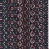 *3 YD PC--Dark Navy/Auburn Medallion Chain Double Knit