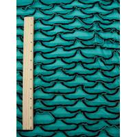 *2 1/4 YD PC--Teal/Black Scallop Ruffle Knit