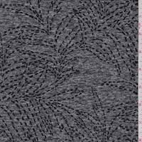 *2 3/4 YD PC--Space Dye Black Botanical Brushed Activewear