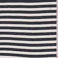 *1 3/8 YD PC--Charcoal/Ivory Stripe Rib Knit