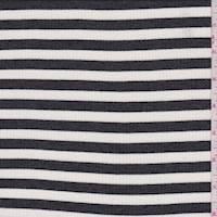 *1 3/8 YD PC--Charcoal/Ivory Stripe Rib Knit