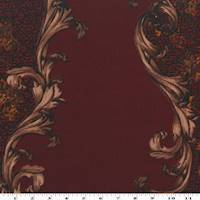 *1 5/8 YD PC--Red/Brown/Multi Baroque Print Scuba Double Knit