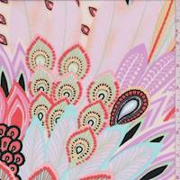 *2 YD PC--Orchid Pink Pastel Peacock Floral Peachskin