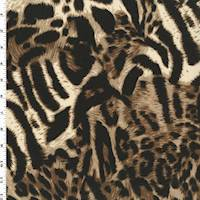 *1 YD PC--Brown/Black Multi Cheetah Print Interlock Knit