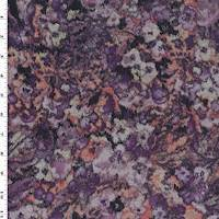 *1 3/8 YD PC--Pink/Purple/Multi Watercolor Floral Print Denim Double Knit