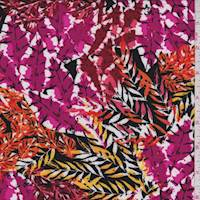 *3 1/4 YD PC--Black/Orange/Pink Botanical Rayon Challis