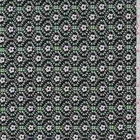 *4 YD PC--Mint/Black Mini Floral ITY Jersey Knit