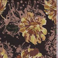 *3 1/2 YD PC--Brown/Copper Floral Slubbed Jersey Knit