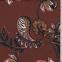 *2 YD PC--Mocha Stylized Floral Jersey Knit