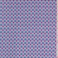 *4 3/8 YD PC--Pink/Aqua Deco Circle Rayon Challis