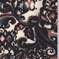 *1 YD PC--Bone/Walnut Paisley Ikat Scuba Knit