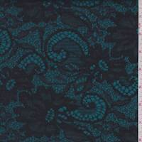 *2 7/8 YD PC--Aqua/Black Floral Satin Jacquard