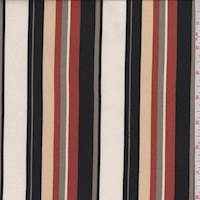 *4 YD PC--Cream/Black/Olive Stripe Double Brushed Jersey Knit