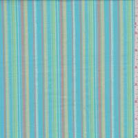 *3 1/4 YD PC--Turquoise Multi Stripe Cotton Lawn