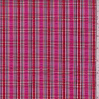 *1 1/4 YD PC--Fuchsia/Red Plaid Cotton Seersucker