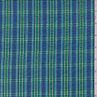 *1 7/8 YD PC--Royal/Kelly Plaid Cotton Seersucker