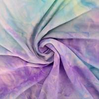 Aqua/Lilac Purple/Multi Tie Dye Double Brushed Jersey Knit