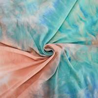 Peach/Tan/Aqua Tie Dye Double Brushed Jersey Knit
