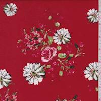 Deep Red Floral/Daisy Double Brushed Jersey Knit
