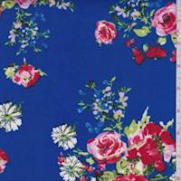 Bright Royal Floral/Daisy Double Brushed Jersey Knit