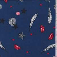 Dark Blue Pop Culture Double Brushed Jersey Knit