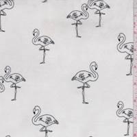 White/Black Flamingo Double Brushed Jersey Knit