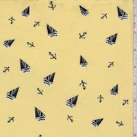 Yellow/Black/White Sailboat Double Brushed Jersey Knit