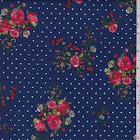 Deep Blue Floral Dot Double Brushed Jersey Knit