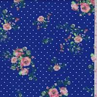 Cobalt Floral Dot Double Brushed Jersey Knit