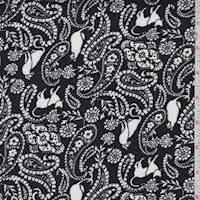 Off Black Cat Paisley Double Brushed Jersey Knit