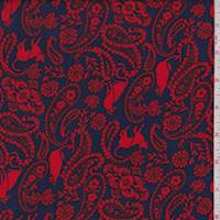 Electric Blue/Red Cat Paisley Double Brushed Jersey Knit