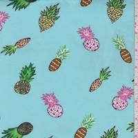 Seafoam Deco Pineapple Double Brushed Jersey Knit