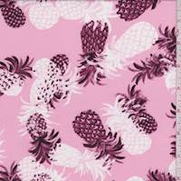 Pink Tossed Pineapple Double Brushed Jersey Knit