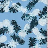 Blue Tossed Pineapple Double Brushed Jersey Knit