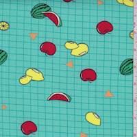 Seafoam Blue Grid/Fruit Double Brushed Jersey Knit