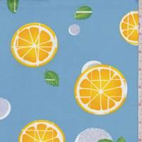 Sky Blue Citrus Slice Double Brushed Jersey Knit